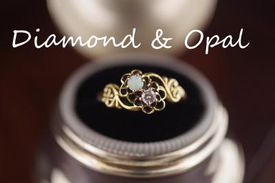 ダイヤモンド&オパール14Kリング