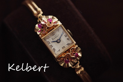 ピンクゴールド ルビー アンティーク時計