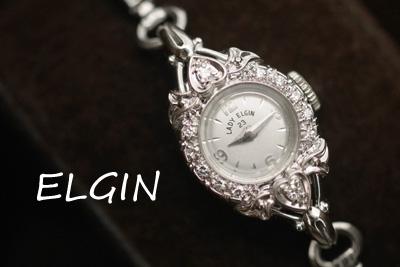 エルジン ハート 14金 ダイヤモンド プラチナ サファイア