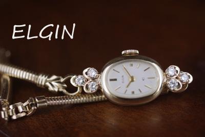 アンティーク elgin エルジン ダイヤモンド 14金 レディース