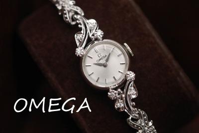 アンティーク オメガ OMEGA ダイヤモンド 14金 レディース ブルーガラス