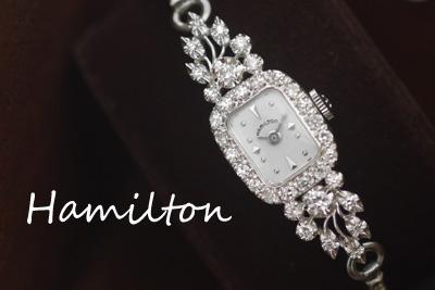 ハミルトン 14K 大粒ダイヤモンド アンティークカクテルウォッチ*2679hamilton