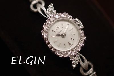 エルジン 14K ダイヤモンド アンティークカクテルウォッチ