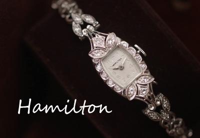 ハミルトン 14K ダイヤモンド アンティークカクテルウォッチ*