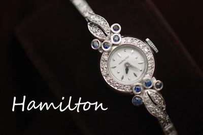 ハミルトン 14K ダイヤモンド&スピネル アンティークカクテルウォッチ