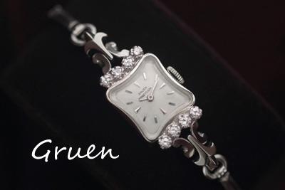 グリュエン 14K ダイヤモンド アンティークカクテルウォッチ