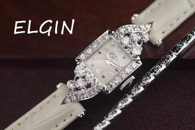 elgin 14K 大粒ダイヤモンド アンティークカクテルウォッチ