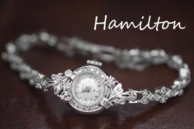 ハミルトン 14K ダイヤモンド アンティークカクテルウォッチ*2775hamilton