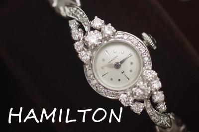 ハミルトン 14金大粒ダイヤモンド アンティークカクテルウォッチ