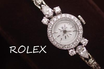 ロレックス プラチナ&14金 大粒ペアシェイプダイヤモンド アンティークカクテルウォッチ