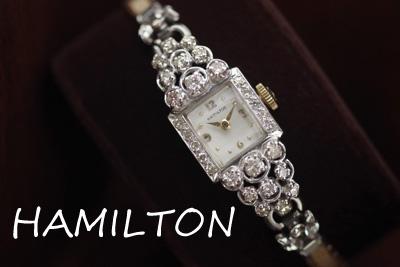 ハミルトン 14K 大粒ダイヤモンド アンティークカクテルウォッチ*2905hamilton