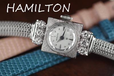 ハミルトン 14K 大粒ダイヤモンド アンティークカクテルウォッチ