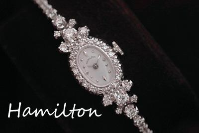 ハミルトン 14金大粒ダイヤモンド&テニスブレス アンティークカクテルウォッチ