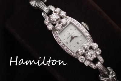 ハミルトン 14K ダイヤモンド アンティークカクテルウォッチ*2925hamilto